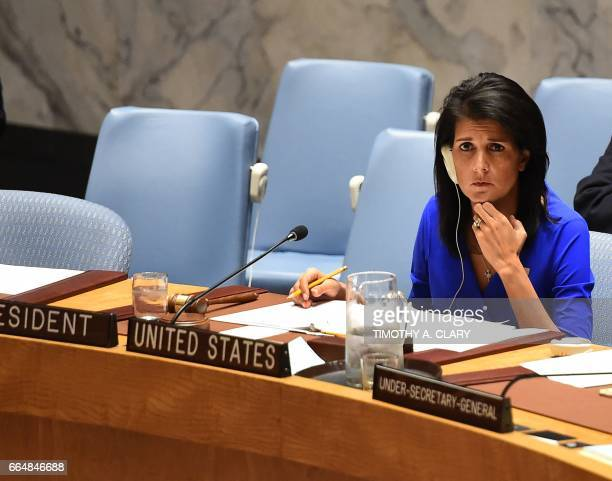 United Nations Ambassador to the US Nikki Haley speaks as the United Nations Security Council meets in an emergency session at the UN on April 5 2017...