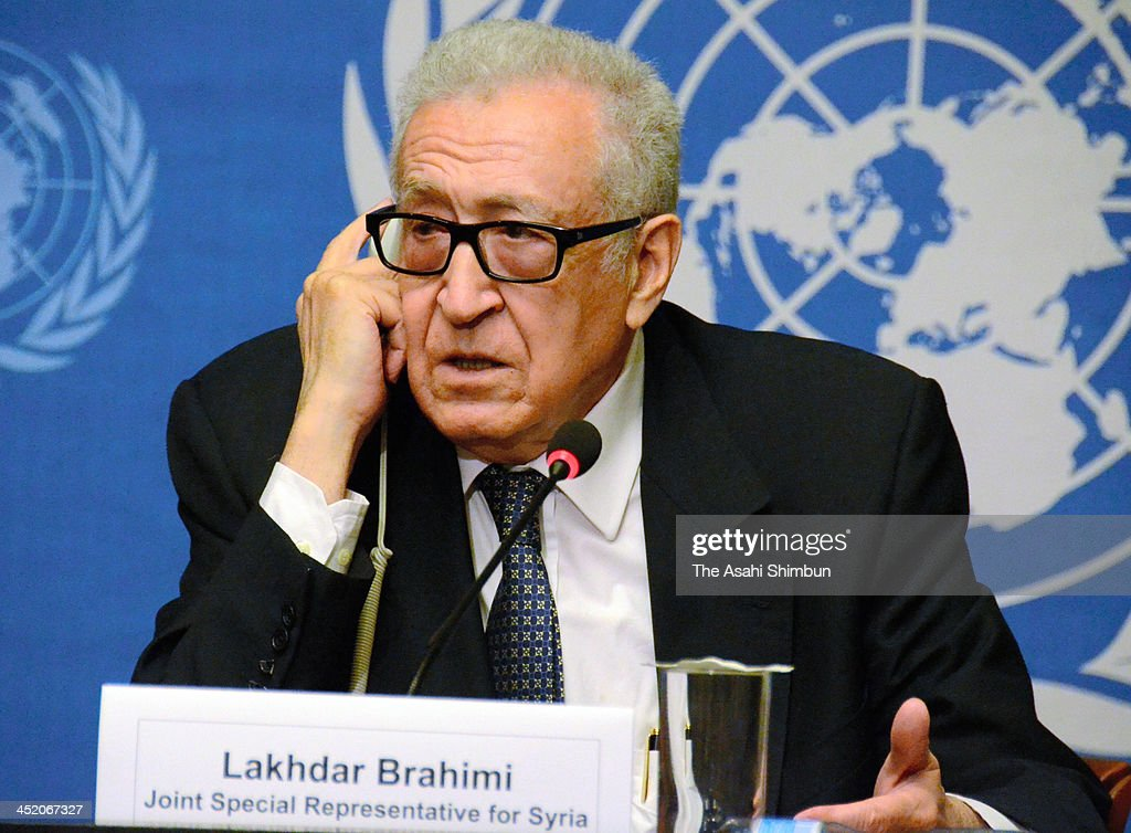 United Nations and Arab League Special Envoy to Syria <a gi-track='captionPersonalityLinkClicked' href=/galleries/search?phrase=Lakhdar+Brahimi&family=editorial&specificpeople=226950 ng-click='$event.stopPropagation()'>Lakhdar Brahimi</a> attends a press conference following talks in Geneva with high-ranking officials from the UN, US and Russia on November 25, 2013 in Geneva, Switzerland.