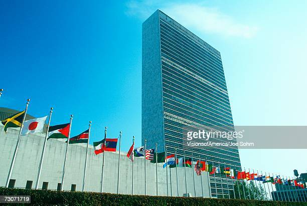 'United Nations Building with flags in New York City, New York'