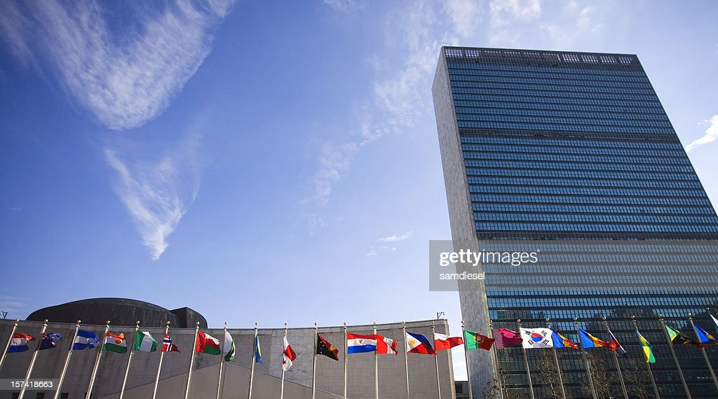 United Nations Building with Flags