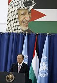 United Nations chief Ban Kimoon holds a press conference with Palestinian president Mahmud Abbas following a meeting at the Muqataa presidential...