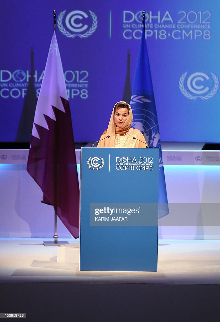 United Nations Convention on Climate Change Executive Secretary Christiana Figueres delivers a speech during the opening ceremony of the 18th United Nations Convention on Climate Change in Doha on November 26, 2012. Nearly 200 world nations launched today a new round of talks to review commitments to cutting climate-altering greenhouse gas emissions. The two-week conference comes amid a welter of reports warning that extreme weather events like superstorm Sandy may become commonplace if mitigation efforts fail. AFP PHOTO / AL-WATAN DOHA / KARIM JAAFAR OUT ==