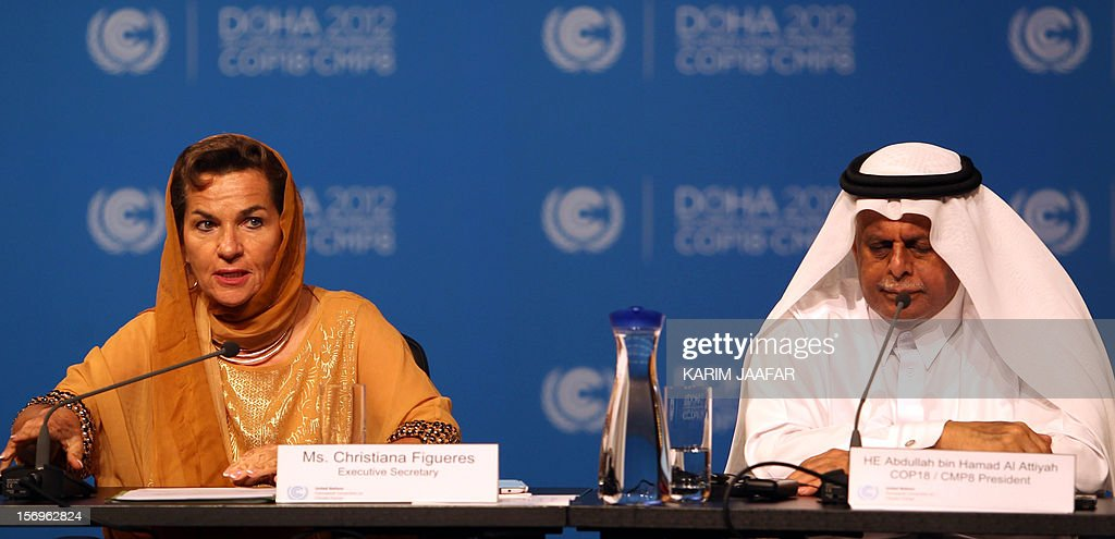 United Nations Convention on Climate Change Executive Secretary Christiana Figueres (L) and Qatar's Deputy Prime Minister and president of the 18th United Nations Convention on Climate Change, Abdullah bin Hamad Al-Attiyah, attend a press conference after the opening ceremony of the 18th United Nations Convention on Climate Change in Doha on November 26, 2012. Nearly 200 world nations launched today a new round of talks to review commitments to cutting climate-altering greenhouse gas emissions. The two-week conference comes amid a welter of reports warning that extreme weather events like superstorm Sandy may become commonplace if mitigation efforts fail. AFP PHOTO / AL-WATAN DOHA / KARIM JAAFAR == QATAR OUT ==