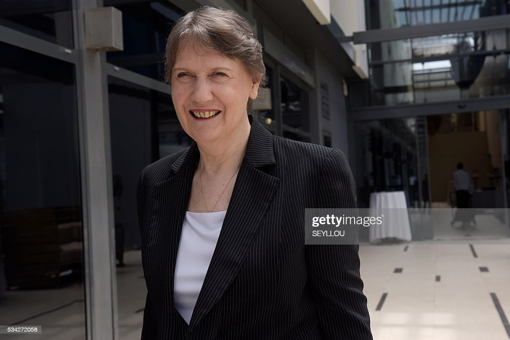 United Nations Development Programme (UNDP) General Director and New Zealand former Prime Minister Helen Clark arrives on May 25, 2016 at a hotel in Dakar for a press conference to support her candidacy to take over the position of United Nation Secretary General. / AFP / SEYLLOU