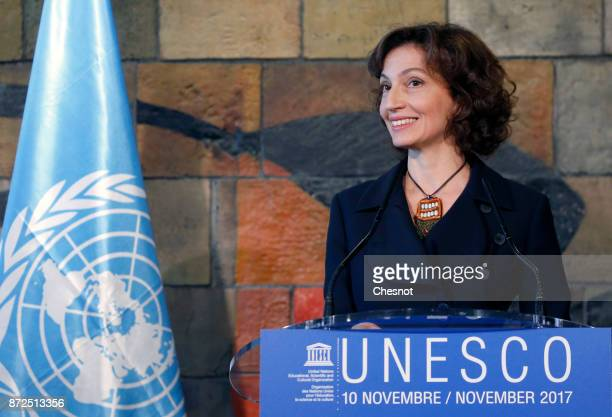 United Nations Educational Scientific and Cultural Organization newly nominated Director General Audrey Azoulay attends a press conference at the...