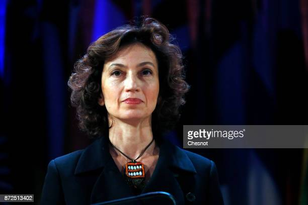 United Nations Educational Scientific and Cultural Organization newly nominated Director General Audrey Azoulay delivers a speech at the 29th general...