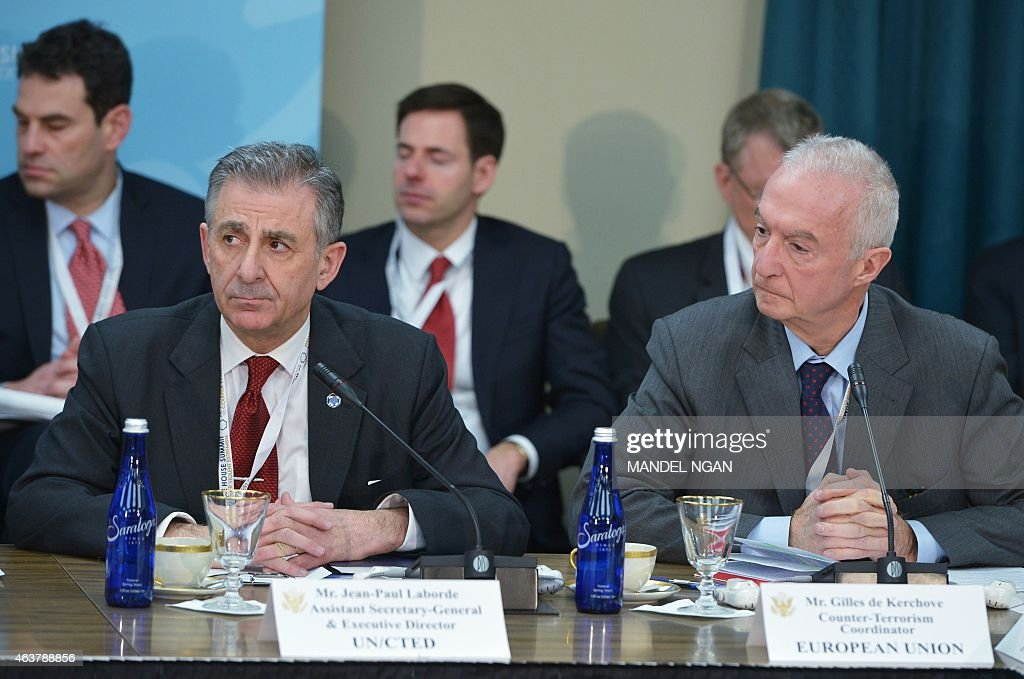 United Nations Executive Director of the Counter-Terrorism Executive Directorate (CTED) Paul Laborde (L) and European Union Counter-terrorism Coordinator <a gi-track='captionPersonalityLinkClicked' href=/galleries/search?phrase=Gilles+de+Kerchove&family=editorial&specificpeople=4505334 ng-click='$event.stopPropagation()'>Gilles de Kerchove</a> (R) take part in the White House Summit on Countering Violent Extremism on February 18, 2015 at the State Department in Washington, DC.