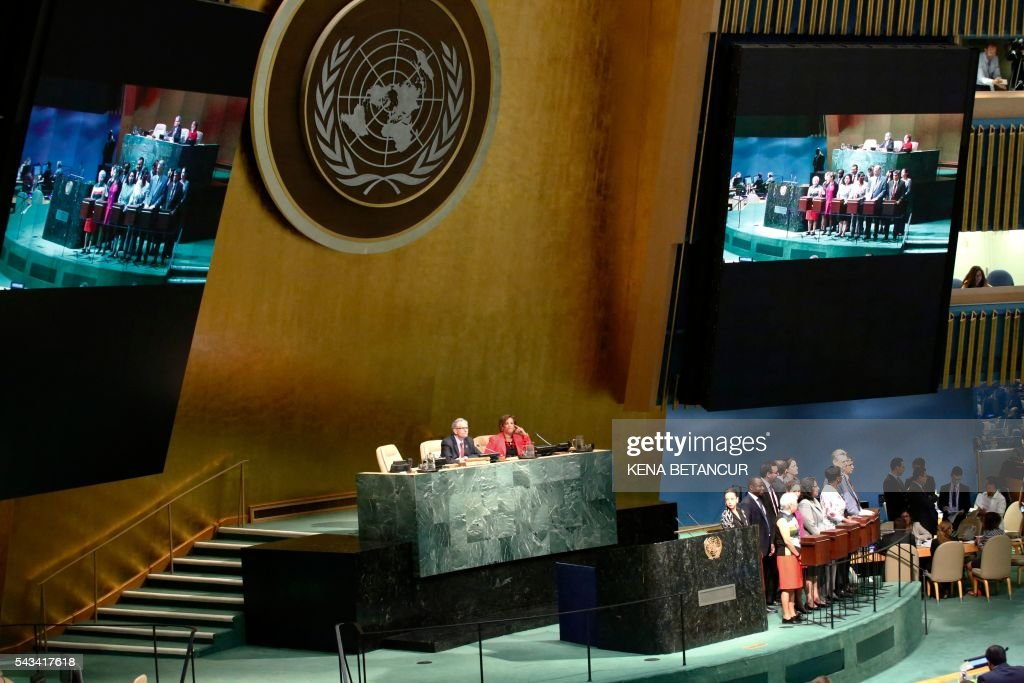 United Nations General Assembly President Mogens Lykketoft speaks before the election of five non-permanent members of the Security Council at the United Nations in New York on June 28 2016. Three European countries and two Asian nations are battling for seats on the UN Security Council in elections that are drawing attention to the refugee crisis and human rights. / AFP / KENA