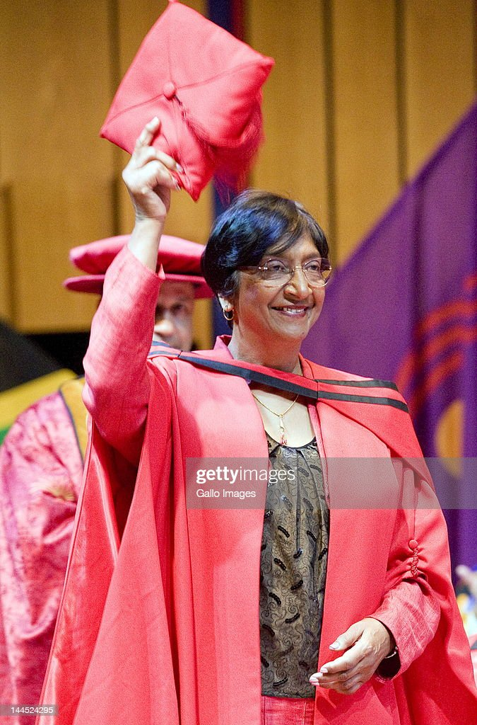 United Nations High Commissioner for Human rights <a gi-track='captionPersonalityLinkClicked' href=/galleries/search?phrase=Navanethem+Pillay&family=editorial&specificpeople=5450761 ng-click='$event.stopPropagation()'>Navanethem Pillay</a> smiles after receiving an honorary doctorate in Law from the University of South Africa (UNISA) in Pretoria, South Africa on May 14, 2012.