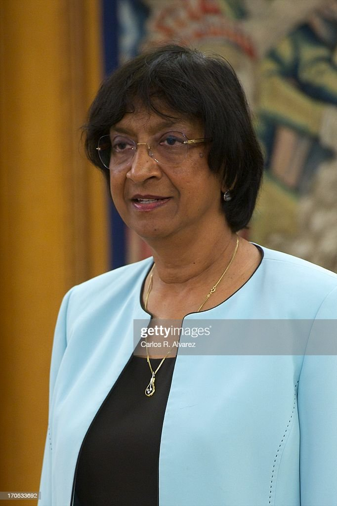 United Nations High Commissioner for Human Rights <a gi-track='captionPersonalityLinkClicked' href=/galleries/search?phrase=Navanethem+Pillay&family=editorial&specificpeople=5450761 ng-click='$event.stopPropagation()'>Navanethem Pillay</a> looks on before meeting with Prince Felipe of Spain at Zarzuela Palace on June 14, 2013 in Madrid, Spain.