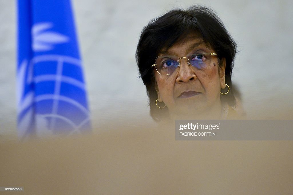 United Nations High Commissioner for Human Rights Navi Pillay is seen at the opening of the 22nd session of the UN Human Rights Council on February 25, 2013 in Geneva. The Council kicks off with widespread abuses in North Korea and Mali the top items on the agenda, along with the crisis in Syria.