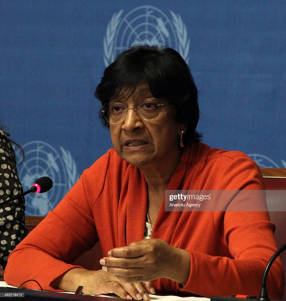 United Nations High Commissioner for Human Rights Navi Pillay (on the photo) speaks about the 'The right to privacy in the digital age' report of United Nations on the press conference in Geneva office of United Nations in Geneva, Switzerland on 16 July, 2014.