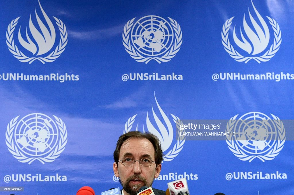 United Nations High Commissioner for Human Rights Zeid Ra'ad Al Hussein addresses a press conference in Colombo on February 9, 2016. The United Nations' human rights chief Zeid Ra'ad Al Hussein began his first visit to Sri Lanka Saturday to gauge the island's progress in investigating allegations troops committed atrocities during a prolonged civil war. AFP PHOTO / LAKRUWAN WANNIARACHCHI / AFP / LAKRUWAN WANNIARACHCHI