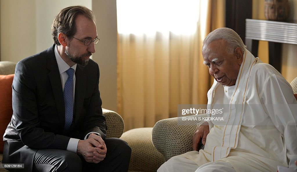 United Nations High Commissioner for Human Rights Zeid Ra'ad Al Hussein (L) meets with Sri Lankas main opposition leader R. Sampanthan in Colombo on February 9, 2016. Zeid is wrapping up a four-day visit to Sri Lanka to gauge the island's progress in investigating wartime atrocities. AFP PHOTO/ Ishara S. KODIKARA / AFP / Ishara S.KODIKARA