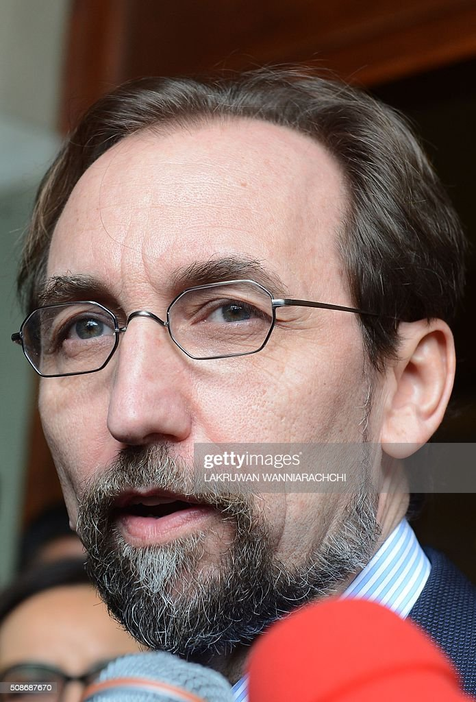 United Nations High Commissioner for Human Rights Zeid Ra'ad Al Hussein speaks to the media in Colombo on February 6, 2016. The United Nations' human rights chief Zeid Ra'ad Al Hussein began his first visit to Sri Lanka Saturday to gauge the island's progress in investigating allegations troops committed atrocities during a prolonged civil war. AFP PHOTO / LAKRUWAN WANNIARACHCHI / AFP / LAKRUWAN WANNIARACHCHI