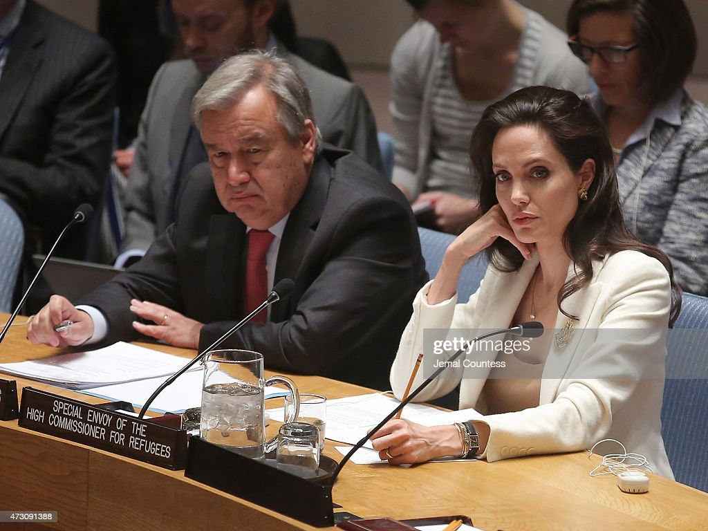 United Nations High Commissioner for Refugees <a gi-track='captionPersonalityLinkClicked' href=/galleries/search?phrase=Antonio+Guterres&family=editorial&specificpeople=553912 ng-click='$event.stopPropagation()'>Antonio Guterres</a> and actress/activist <a gi-track='captionPersonalityLinkClicked' href=/galleries/search?phrase=Angelina+Jolie&family=editorial&specificpeople=201591 ng-click='$event.stopPropagation()'>Angelina Jolie</a> attend United Nations Security Council Meeting on the situation in the Middle East And Syria at the United Nations on April 24, 2015 in New York City.