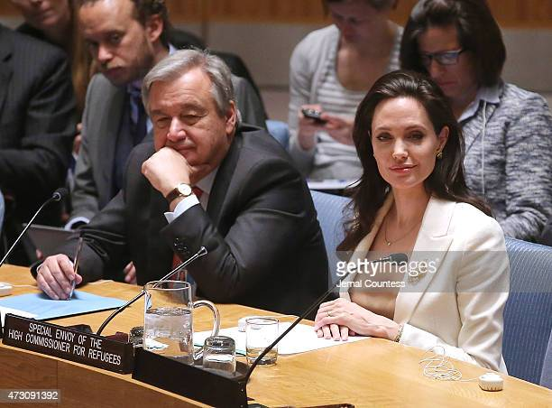 United Nations High Commissioner for Refugees Antonio Guterres and actress/activist Angelina Jolie attend United Nations Security Council Meeting on...
