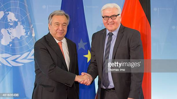 United Nations High Commissioner for Refugees Antonio Guterres meets German Foreign Minister FrankWalter Steinmeier at the Federal Foreign Ministry...