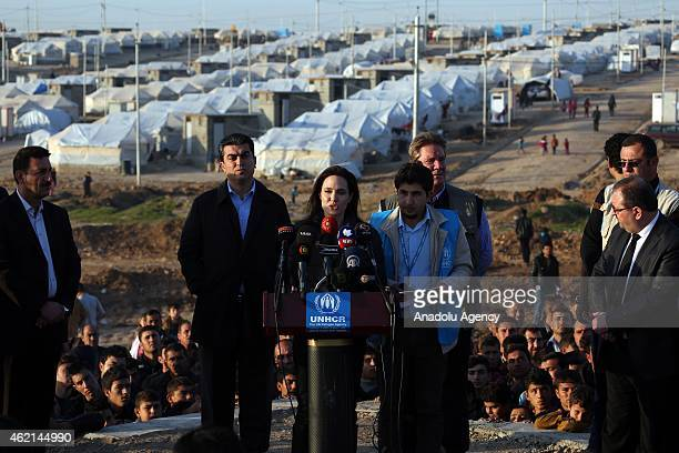 United Nations High Commissioner for Refugees Special Envoy and famous actress Angelina Jolie gives a speech during a press release after his visit...