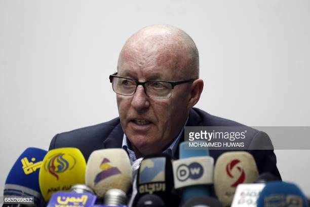 United Nations Humanitarian Coordinator in Yemen Jamie McGoldrick gives a press conference in Sanaa on May 15 2017 / AFP PHOTO
