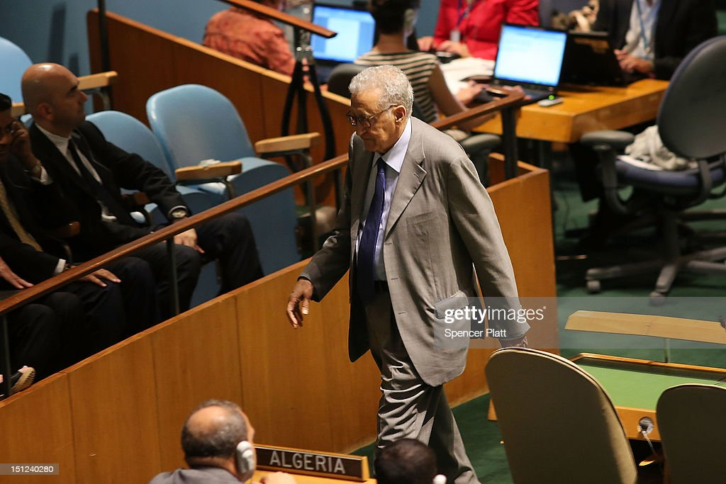 United Nations new envoy to Syria <a gi-track='captionPersonalityLinkClicked' href=/galleries/search?phrase=Lakhdar+Brahimi&family=editorial&specificpeople=226950 ng-click='$event.stopPropagation()'>Lakhdar Brahimi</a> walks off stage after addressing the U.N. General Assembly on September 4, 2012 in New York City. Before heading to the Middle East to attempt to bring a truce in the fighting in Syria, Brahimi will meet with United Nations Secretary General Ban Ki-moon and former syrian envoy Kofi Annan.
