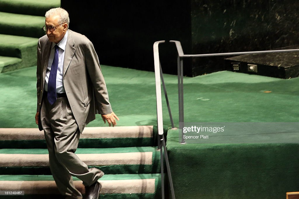 United Nations new envoy to Syria Lakhdar Brahimi walks off stage after addressing the U.N. General Assembly on September 4, 2012 in New York City. Before heading to the Middle East to attempt to bring a truce in the fighting in Syria, Brahimi will meet with United Nations Secretary General Ban Ki-moon and former syrian envoy Kofi Annan.