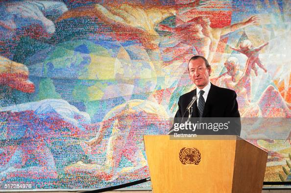 Secretary General Kurt Waldheim addresses gathering at the UN dedication ceremony of mural painting commemorating 1970 United Nations World Youth...