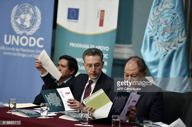 United Nations Office on Drugs and Crime representative Antonino De Leo flanked by Bolivian Interior Minister Carlos Romero and Felipe Caceres deputy...