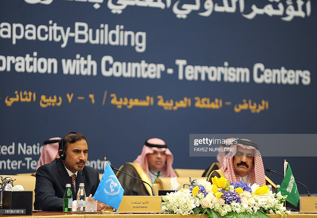 United Nation's OIC CTITF officer, Rafiuddin Shah (L) and Saudi Deputy to the Minister of Multilateral Relations Turki bin Saud al-Kabir (R) listen on February 17, 2013, during the debates on the last day of the International Conference on United Nation's Collaboration with Counter-Terrorism Centers being held in Riyadh on February 16, 2013.