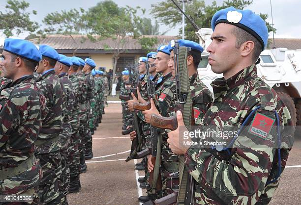 United Nation's peacekeepers from Morocco during a Sept 15 2014 ceremony to mark the formal start of the UN peacekeeping mission