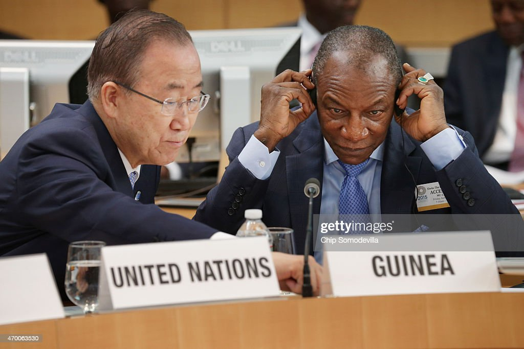 United Nations Scretary-General Ban Ki-moon (L) and Guinea President Alpha Conde attend a meeting about the fight against the Ebola outbreak in West Africa during the World Bank-International Monetary Fund Spring Meetings April 17, 2015 in Washington, DC. The World Bank announced Friday that it would provide an additional US$650 million over the next year to help Guinea, Liberia and Sierra Leone to recover from the social, economic and health impact of the Ebola crisis.