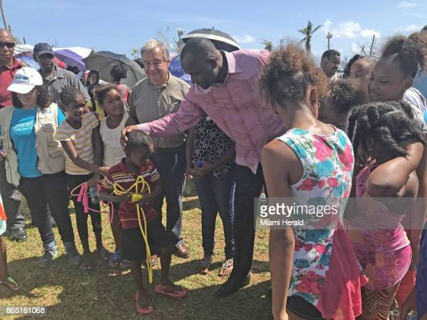 United Nations Secretary General Antonio Guterres and Dominica Prime Minister Roosevelt Skerrit meet with children in Salybia a farming village in...