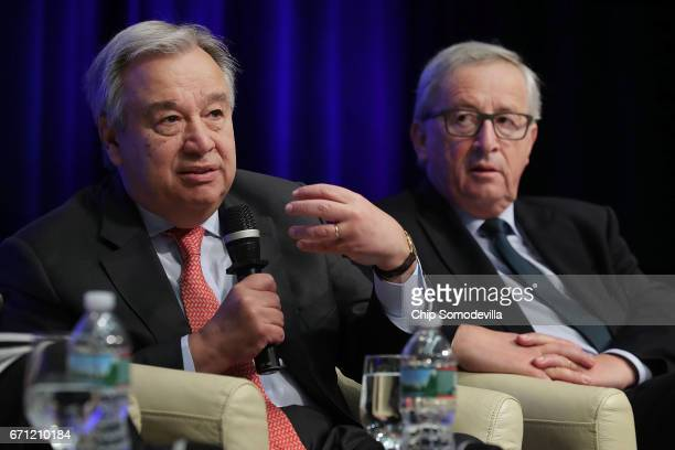 United Nations Secretary General Antonio Guterres and European Commission President JeanClaude Juncker participate in a discussion during the World...