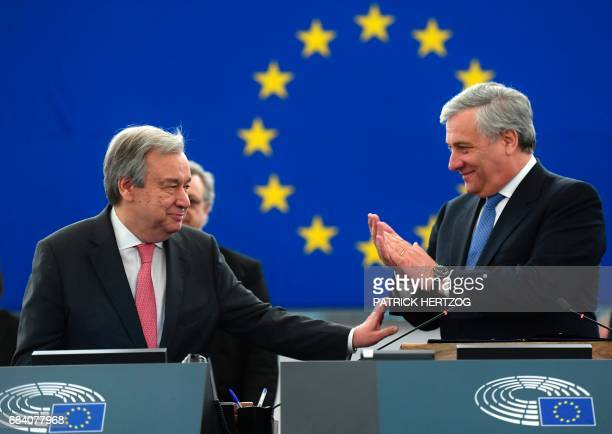 United Nations Secretary General Antonio Guterres is greeted by European Parliament's President Antonio Tajani prior to deliver a speech at the...