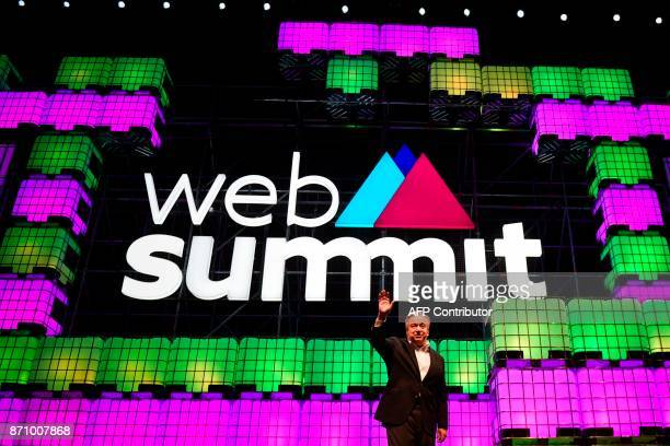 United Nations secretary general Antonio Guterres waves during the opening ceremony of the 2017 Web Summit in Lisbon on November 6 2017 Europe's...