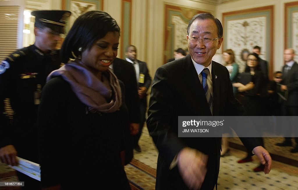 United Nations Secretary General Ban Ki Moon (R) departs the US Senate Foreign Relations Committee after a meeting on Capitol Hill in Washington, DC, on February 13, 2013. AFP PHOTO/Jim WATSON