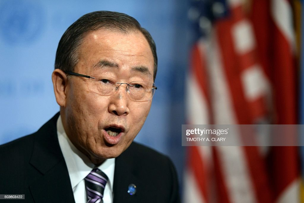 United Nations Secretary General Ban Ki- moon speaks to the press at the UN New York January 6, 2016 before a Securty Council meeting about North Korea claiming it had successfully tested a hydrogen bomb.Ban issued a strong condemnation of North Korea's nuclear test and called on Pyongyang to halt its nuclear program. 'I condemn it unequivocally. I demand the DPRK cease any further nuclear activities,' Ban told reporters ahead of an emergency meeting of the UN Security Council. North Korea said it had carried out a 'successful' miniaturized hydrogen bomb test -- a shock announcement that, if confirmed, would massively raise the stakes in the hermit state's bid to strengthen its nuclear arsenal.