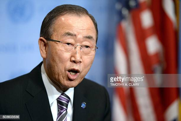 United Nations Secretary General Ban Ki moon speaks to the press at the UN New York January 6 2016 before a Securty Council meeting about North Korea...