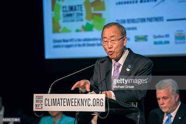 United Nations Secretary General Ban Kimoon addresses the audience during a New York City Climate Week event at the Morgan Library on September 22...