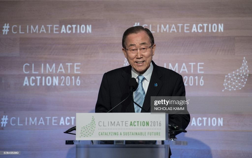 United Nations Secretary General Ban Ki-moon addresses the opening session of the Climate Action 2016 conference in Washington, DC, on May 5, 2016. / AFP / NICHOLAS