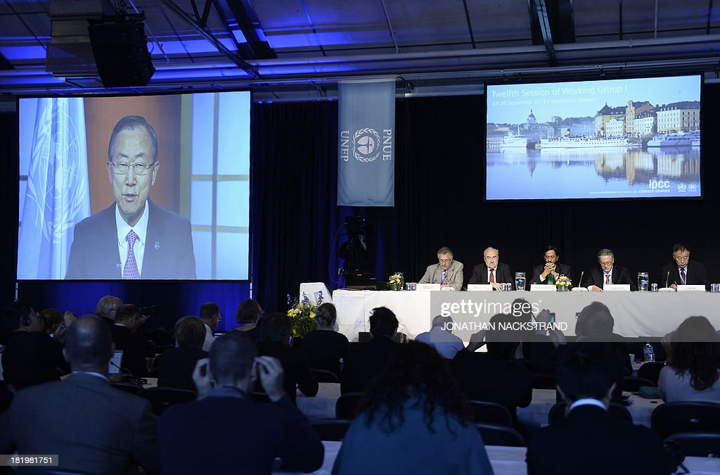 United Nations Secretary General Ban Ki-moon adresses the United Nation's Intergovernmental Panel on Climate Change (IPCC) via video link as they present the first volume of its Fifth Assessment Report, first overview since 2007 of scientific evidence for climate change on September 27, 2013 in Stockholm. The report, based on a huge number of measurements globally, has been discussed this week at the IPCC's meeting in Stockholm, bringing together hundreds of leading scientists.