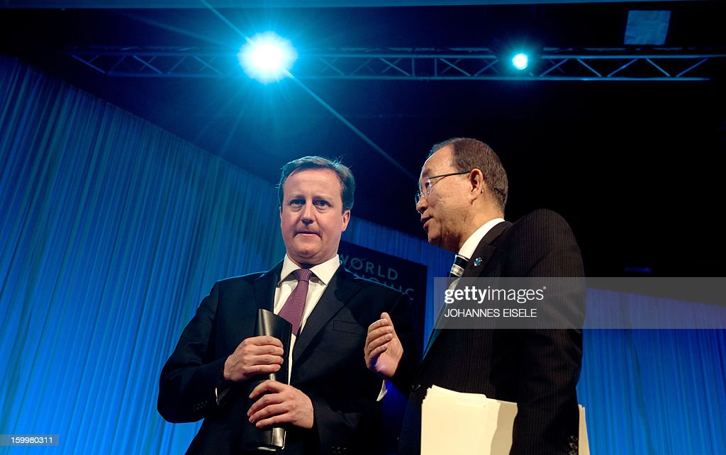 United Nations Secretary General Ban Ki-moon and British Prime Minister David Cameron have a chat after a session at the 2013 World Economic Forum Annual Meeting on January 24, 2013 at the Swiss resort of Davos.