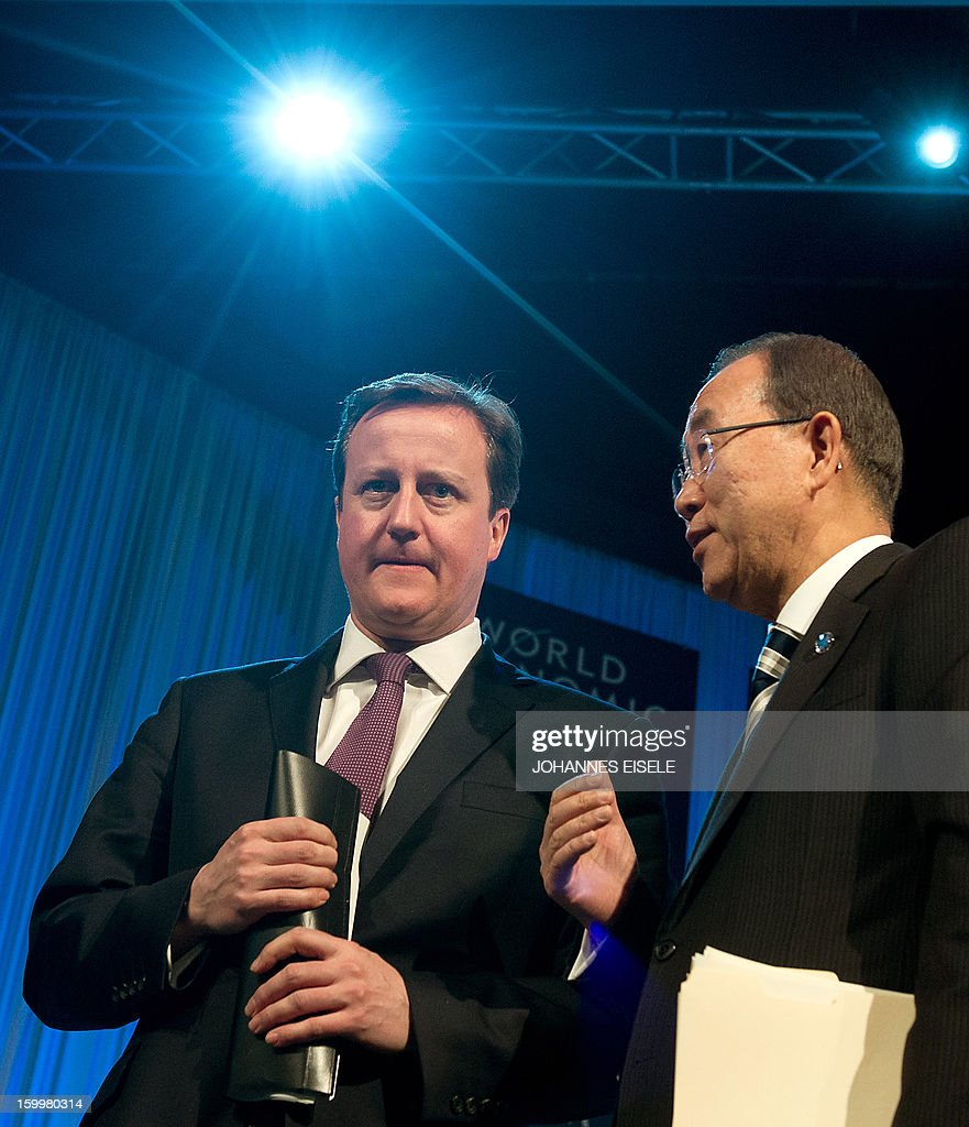 United Nations Secretary General Ban Ki-moon (R) and British Prime Minister David Cameron have a chat after a session at the 2013 World Economic Forum Annual Meeting on January 24, 2013 at the Swiss resort of Davos.