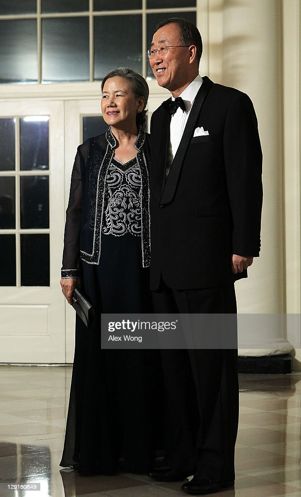 United Nations Secretary General Ban Ki-moon (R) and his wife Ban Soon-taek (L) arrive at a state dinner at the White House October 13, 2011 in Washington, DC. President Barack Obama hosted a state dinner in honor of South Korean President Lee Myung-bak and his wife Kim Yoon-ok.