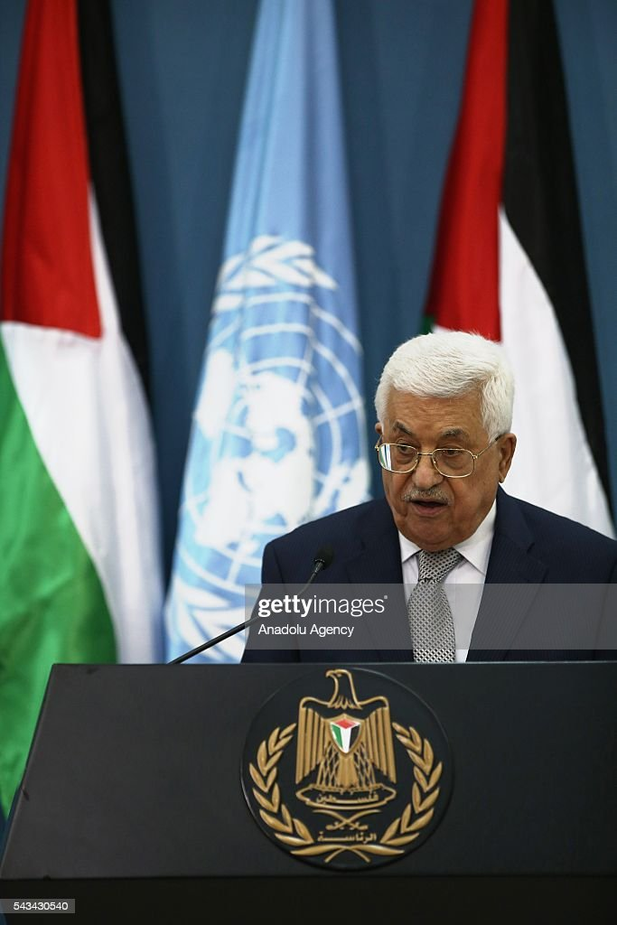 United Nations Secretary General Ban Ki-moon (not seen) and Palestinian President Mahmoud Abbas (C) hold a joint press conference after their meeting at Presidential Office in Ramallah, West Bank on June 28, 2016.
