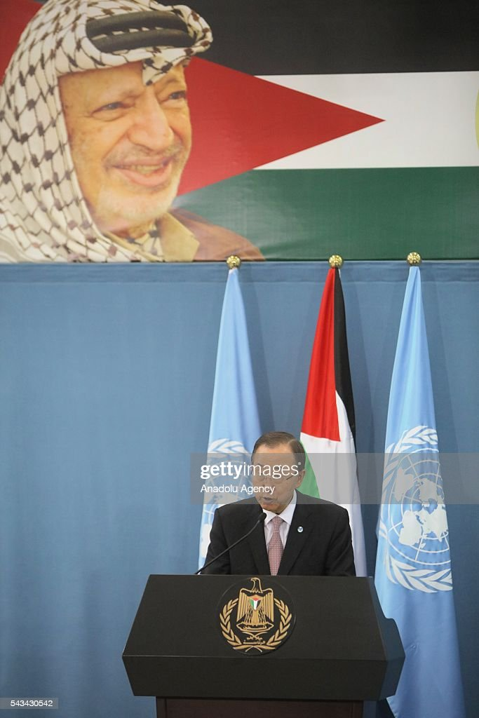 United Nations Secretary General Ban Ki-moon (C) and Palestinian President Mahmoud Abbas (not seen) hold a joint press conference after their meeting at Presidential Office in Ramallah, West Bank on June 28, 2016.