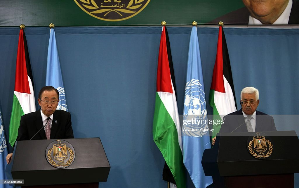 United Nations Secretary General Ban Ki-moon (L) and Palestinian President Mahmoud Abbas (R) hold a joint press conference after their meeting at Presidential Office in Ramallah, West Bank on June 28, 2016.