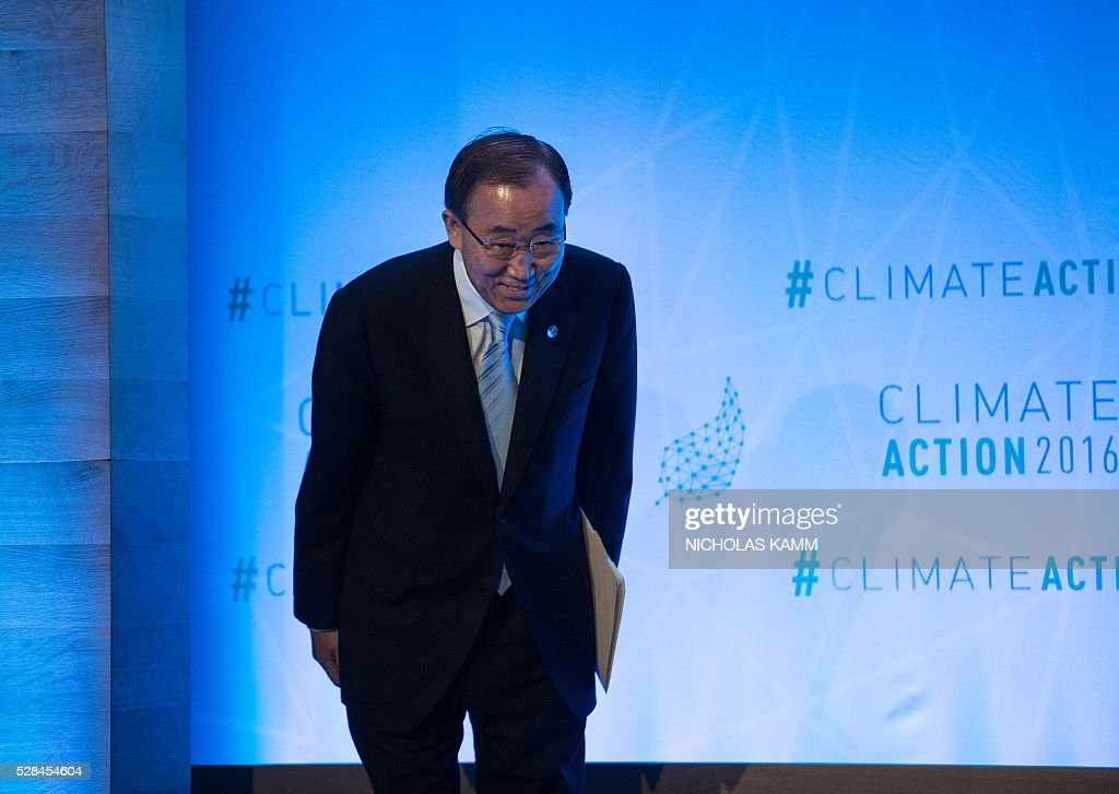United Nations Secretary General Ban Ki-moon arrives at the opening session of the Climate Action 2016 conference in Washington, DC, on May 5, 2016. / AFP / NICHOLAS