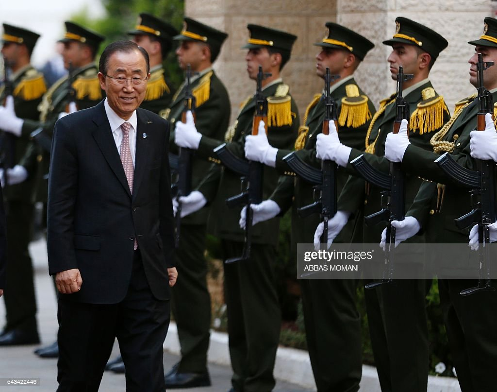 United Nations Secretary General Ban Ki-moon arrives for a meeting with the Palestinian president at the Muqataa, the Palestinian Authority headquarters, in the West Bank city of Ramallah, on June 28, 2016. Ban is on an official visit to Israel and the Palestinian territories. / AFP / ABBAS
