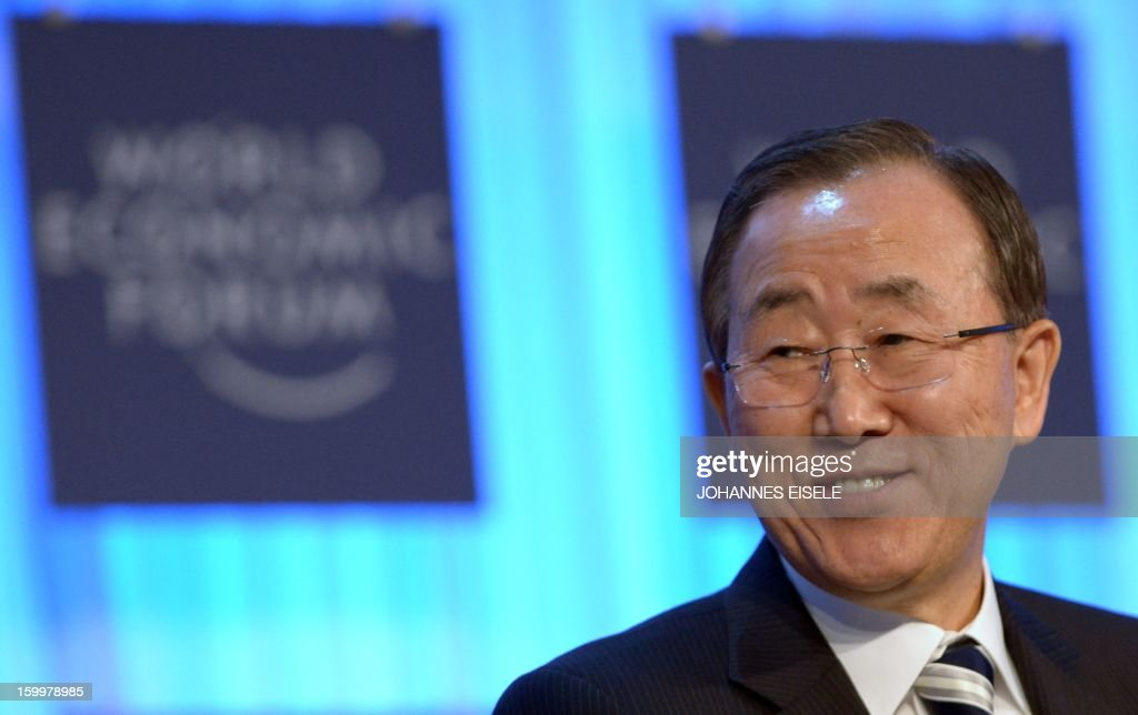 United Nations Secretary General Ban Ki-moon attends a session of the World Economic Forum Annual Meeting 2013 on January 24, 2013 at the Swiss resort of Davos. The World Economic Forum (WEF) will take place from January 23 to 27. AFP PHOTO / JOHANNES EISELE